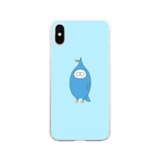 ねこタイツと青い鳥 Soft clear smartphone cases