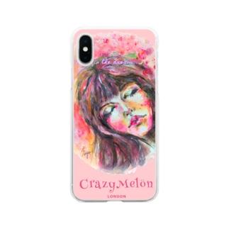 夢で会いましょう🌸ピンクiPhoneカバー Soft clear smartphone cases