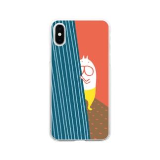 ねこタイツがみている Soft clear smartphone cases