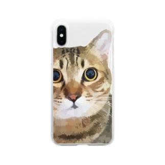 えだもものグラフィックつみれ(小物) Soft clear smartphone cases