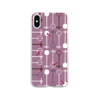 三味線総柄(紫) Soft clear smartphone cases