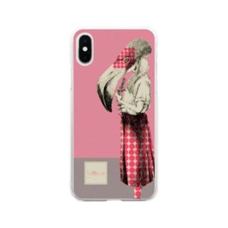 化けの皮ーフラミンゴー Soft clear smartphone cases