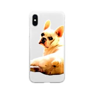 フレンチブルドッグ Soft clear smartphone cases
