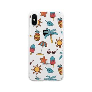 夏ビーチイラスト Soft Clear Smartphone Case