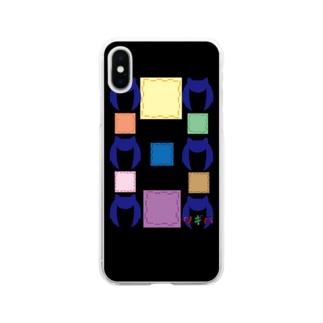 ツギハちゃん柄ミックスブラック Soft clear smartphone cases