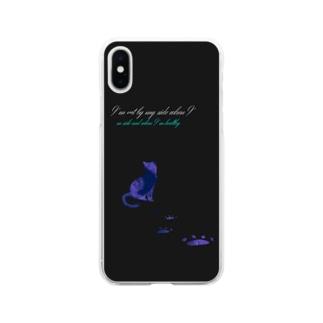猫バナレ黒 Soft clear smartphone cases