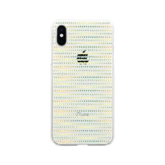 グラデーションドット グリーン系 Soft clear smartphone cases
