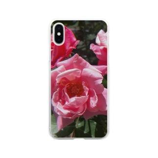 薔薇のお花 ピンク Soft clear smartphone cases