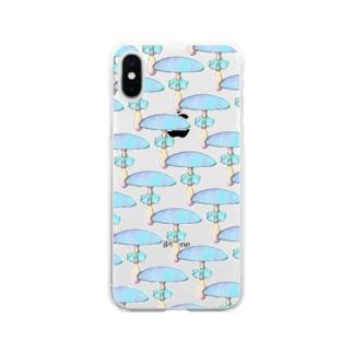 青いキノコの群生地 Soft clear smartphone cases