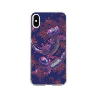 カサブランカとクレステッドゲッコー(パープル) Soft Clear Smartphone Case