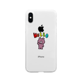 Hello くまくん Soft clear smartphone cases