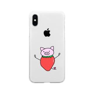 いちごぶた Soft clear smartphone cases