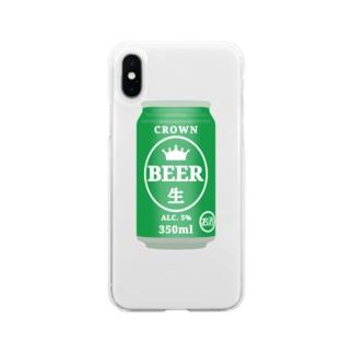 缶ビール Soft clear smartphone cases