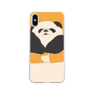 抱えられパンダ Soft clear smartphone cases