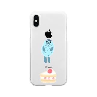 アザラシとケーキ Soft clear smartphone cases