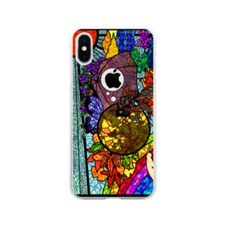 ステンドグラス風 改 りんご穴 Soft clear smartphone cases