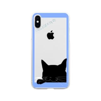 シンプル猫:ブルー黒猫 Soft clear smartphone cases