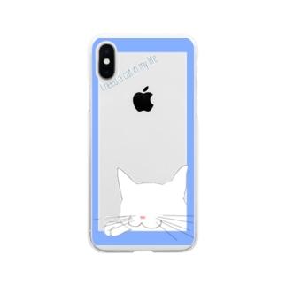 シンプル猫:ブルー白猫 Soft clear smartphone cases