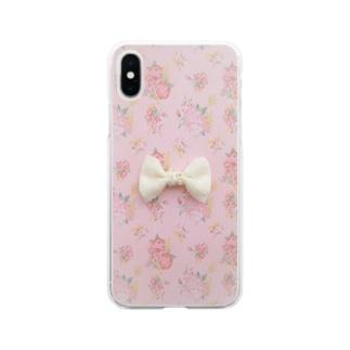 ピンク花柄に白いリボン Soft clear smartphone cases