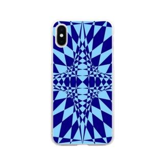 模様(青・水色) Soft clear smartphone cases