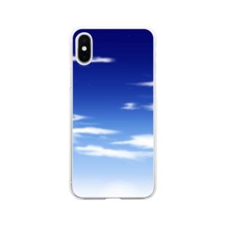 青空(手描き) Soft clear smartphone cases