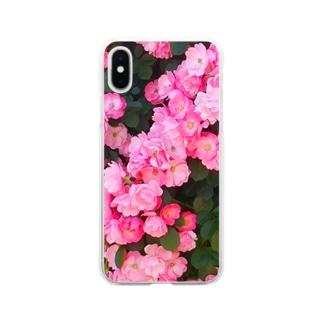 ピンクの薔薇いっぱい Soft clear smartphone cases
