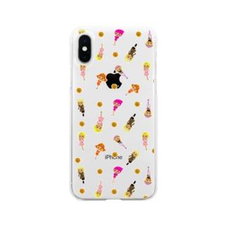 ちょりたん画伯キャラクターズショップのマリーゴールドちゃん 総柄バージョン Soft clear smartphone cases