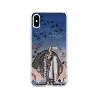 世界の絵画アートグッズのカイ・ニールセン《魔法の笛を吹く若い兵士と集まる鳥の群れ》 Soft Clear Smartphone Case