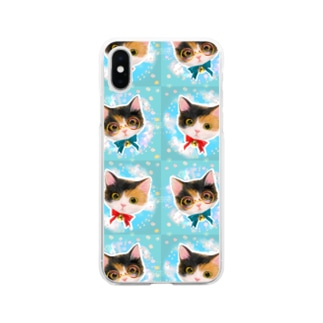 おしゃれなメガネをかけたミケ猫たちの夢かわいいイラスト Soft clear smartphone cases