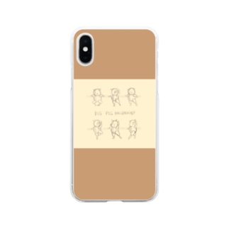 BAR LESSON PIGS:sketch two tone Soft clear smartphone cases