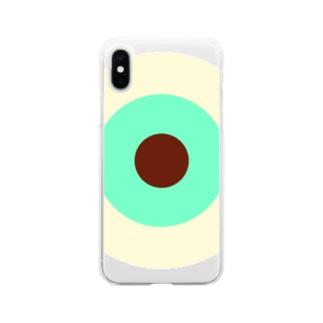 サークルa・クリーム・ペパーミント・チョコ Soft clear smartphone cases