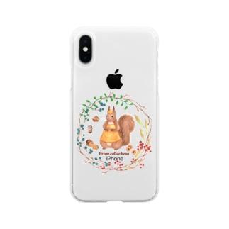 森の木の実のボタニカルカフェ Soft clear smartphone cases