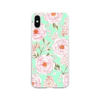 バラとライラック Rose and Lila Flowers Soft Clear Smartphone Case