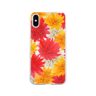 ダリア Dahlia Flower Soft Clear Smartphone Case