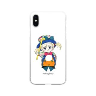 ソフトクリアスマホケース ポー 花柄のえんび服 Soft Clear Smartphone Case