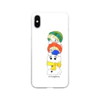ソフトクリアスマホケース トメヨネ 雪だるま Soft Clear Smartphone Case