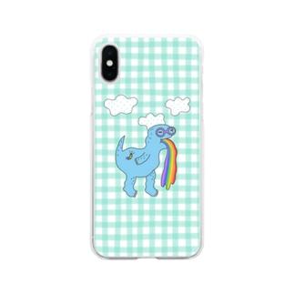 水色恐竜 Soft Clear Smartphone Case