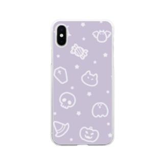 チームハロウィン パープル Soft Clear Smartphone Case