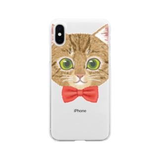 ねこちゃん(キジトラred) Soft Clear Smartphone Case