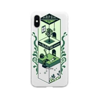 ゲームボーイ風・オリーブオイル工場 Soft clear smartphone cases