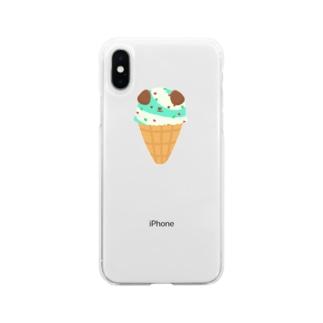 こいぬアイス Soft Clear Smartphone Case