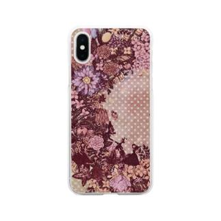 幸せのリース<ピンクセピア> Soft Clear Smartphone Case