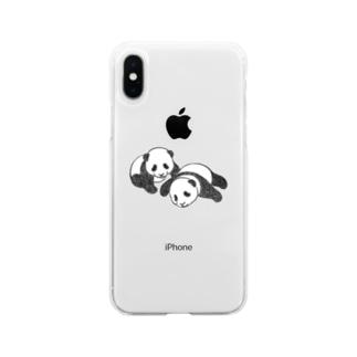 双子パンダ Soft Clear Smartphone Case