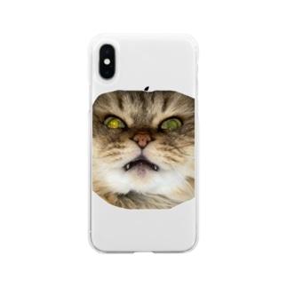 猫ネコショップの猫ネコ(顔) Soft Clear Smartphone Case
