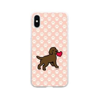 チョコラブパピーと赤いハート Soft Clear Smartphone Case