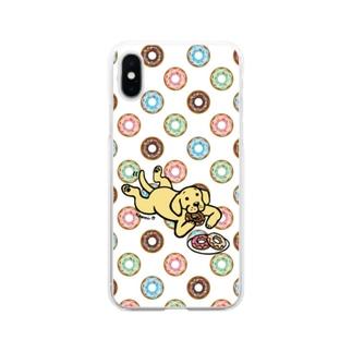 ドーナツをつまむイエローラブラドール Soft Clear Smartphone Case