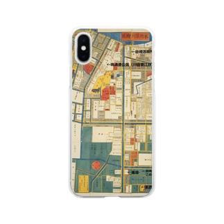 本所深川絵図 Soft clear smartphone cases