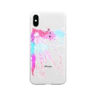 フジサキ(よころ)の海と月の物語 カラフル Soft clear smartphone cases