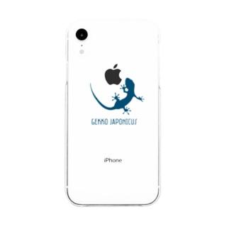 motchamのヤモリ シルエット ロゴ ( ダークブルー ) Soft clear smartphone cases