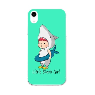 LittleSharkGirl iPhoneケース(アクアマリン) Soft clear smartphone cases